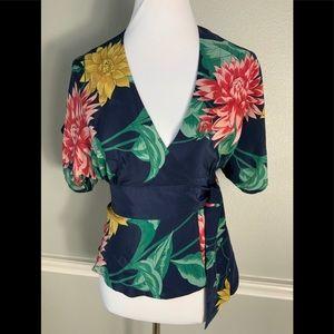 Tibi Floral Wrap Blouse